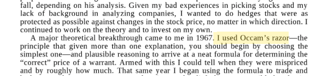 An excerpt from Man For All Markets By Ed Thorp: Occam's Razor