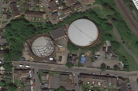 Gas holder from Google Earth. src. Reigate.uk