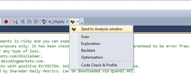 send to analysis window