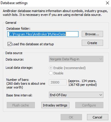 learn amibroker database settings